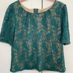Dark teal lace blouse with nude lining.